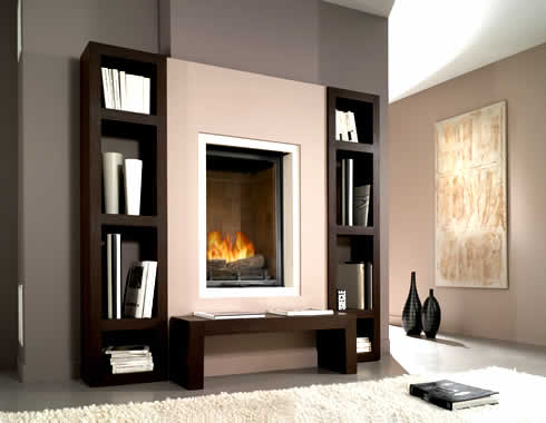 fireplace bookcase design